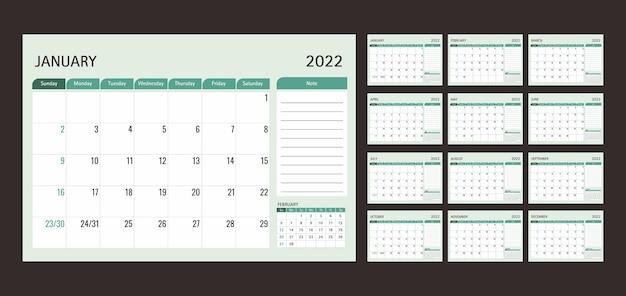 Kalender of planner 2022 sjabloon 12 maanden met groene achtergrond