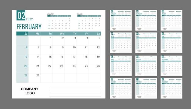 Kalender of planner 2022 sjabloon 12 maanden met groene en schone achtergrond