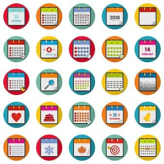 Kalender pictogrammen instellen, vlakke stijl