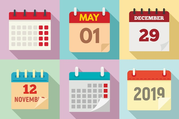 Kalender set, vlakke stijl