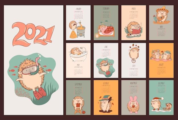 Kalender van schattige kawaii egels 2021.