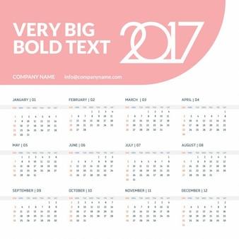 Kalender voor 2017 jaar op witte achtergrond week begint zondag