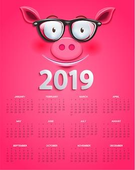 Kalender voor 2019 jaar