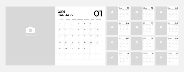 Kalender voor 2019-sjabloon.