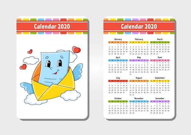 Kalender voor 2020 met een schattig karakter. zak formaat. leuk en helder ontwerp.