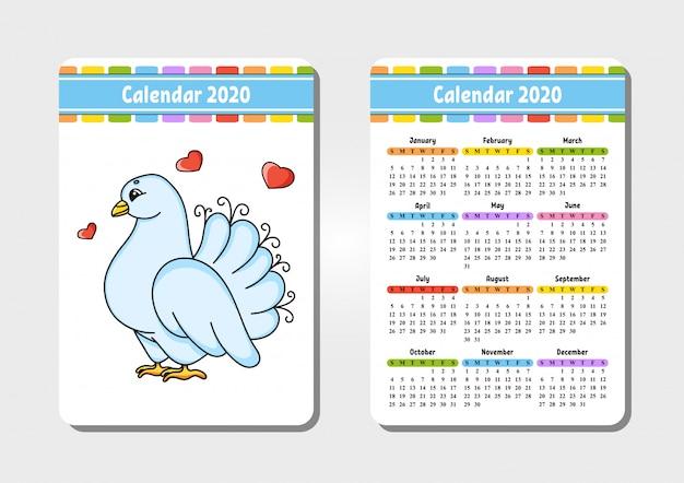 Kalender voor 2020 met een schattig karakter