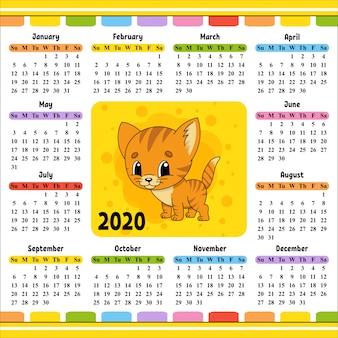 Kalender voor 2020 met een schattig karakter.