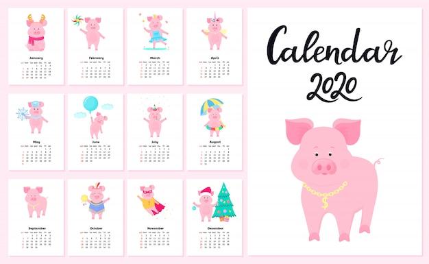 Kalender voor 2020 van zondag tot zaterdag