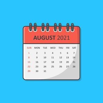Kalender voor 2021 jaar pictogram vectorillustratie. platte kalenderpictogram augustus 2021