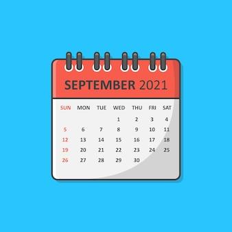 Kalender voor 2021 jaar pictogram vectorillustratie. platte kalenderpictogram september 2021
