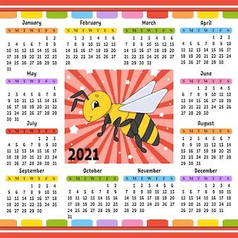 Kalender voor 2021 met een schattig karakter gestreepte bij