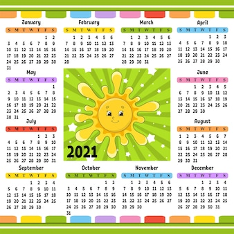 Kalender voor 2021 met een schattig karakter. leuke zon. cartoon-stijl.