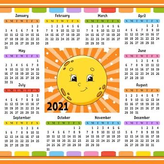 Kalender voor 2021 met een schattig karakter