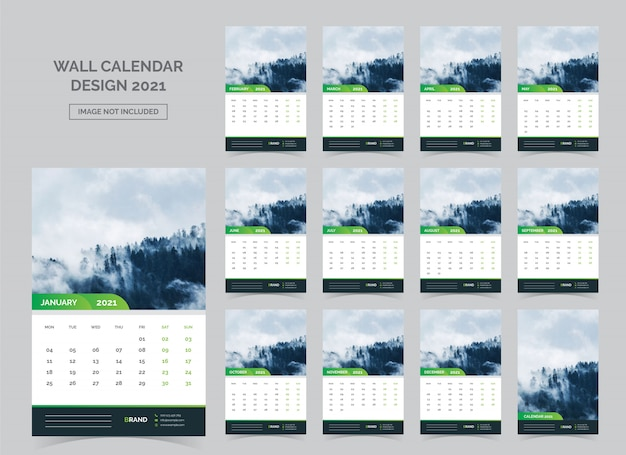 Kalender voor 2021. week begint op maandag.