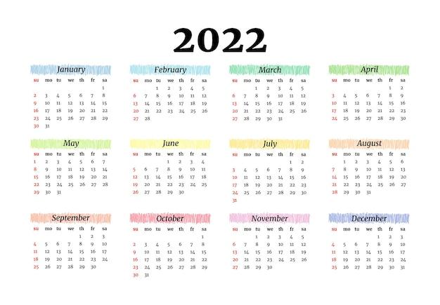 Kalender voor 2022 geïsoleerd op een witte achtergrond. zondag tot maandag, zakelijke sjabloon. vector illustratie