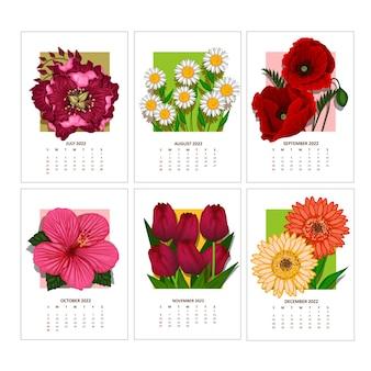 Kalender voor 2022 jaar week begint op zondag vectorsjabloon met bloemenornament van kleurrijke stroom
