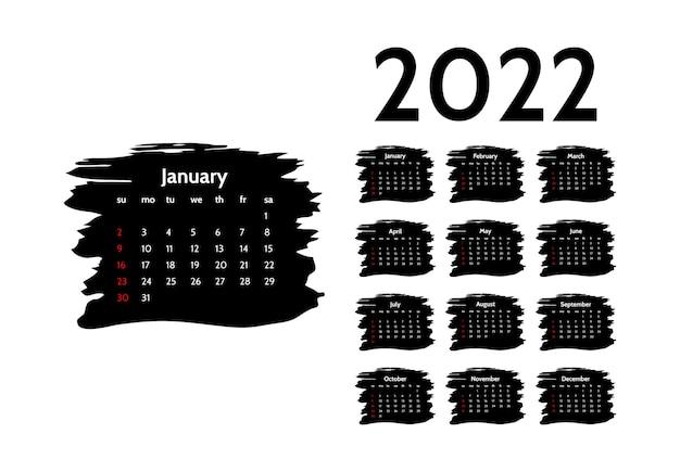 Kalender voor 2022 met grote januari geïsoleerd op een witte achtergrond. zondag tot maandag, zakelijke sjabloon. vector illustratie
