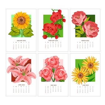 Kalender voor 2022 vectorsjabloon met bloemenornament van kleurrijke stroom