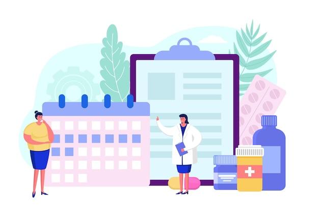 Kalender voor apotheek geneeskunde vector illustratie vrouw arts karakter helpen vrouwelijke patiënt in hos...