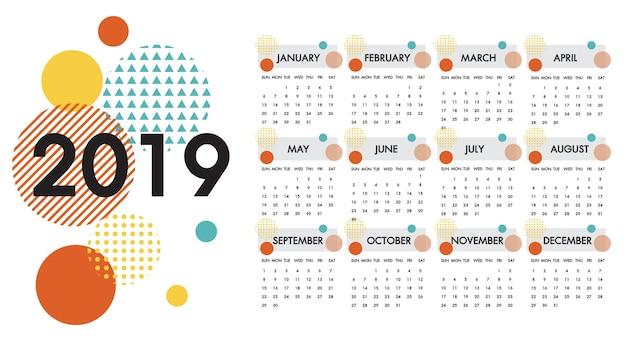 Kalender voor het jaar 2019 vector