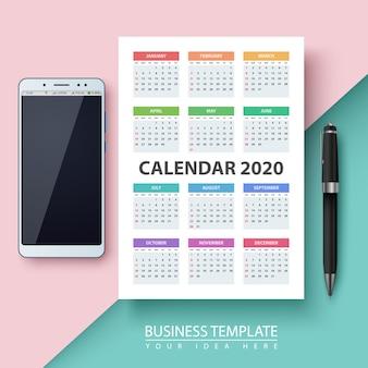 Kalender voor het jaar 2020.