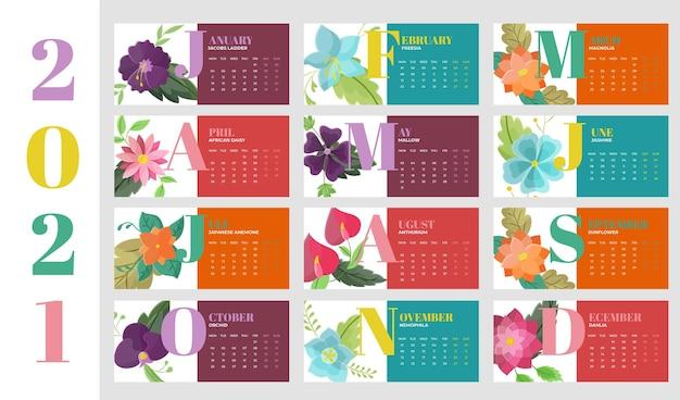 Kalender voor het nieuwe jaar 2021 in plat ontwerp