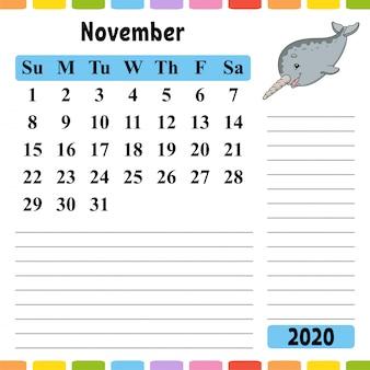 Kalender voor november 2020 met een schattig karakter.