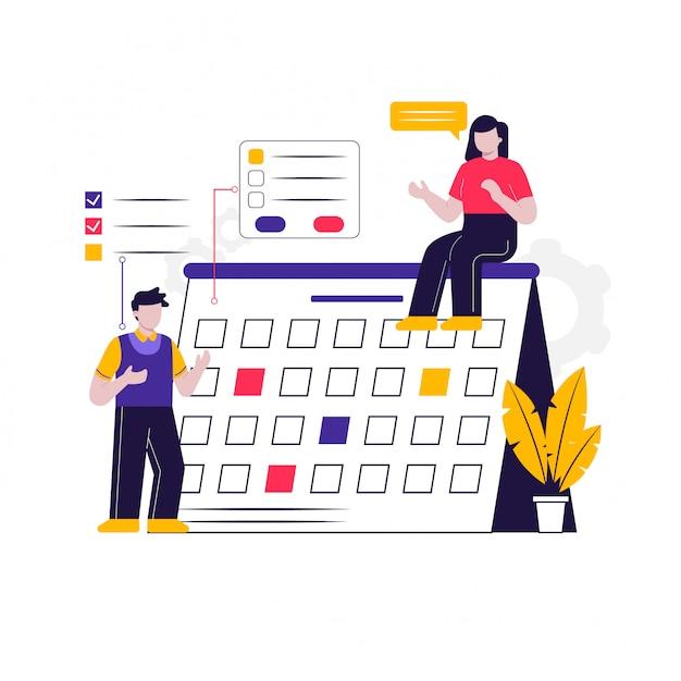 Kalender werk deadline concept illustratie