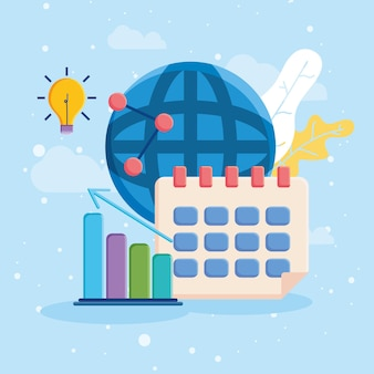Kalenderbalkdiagram en globale bol