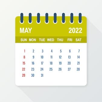 Kalenderblad mei 2022. kalender 2022 in vlakke stijl. vector illustratie.