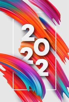 Kalenderdekking 2022 nummer op kleurrijke abstracte kleur verf penseelstreken