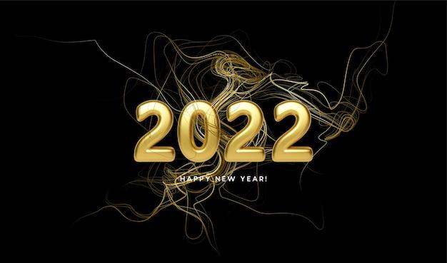 Kalenderkop 2022 met gouden golven wervelen met gouden glitters op zwarte achtergrond. gelukkig nieuwjaar 2022 gouden golven achtergrond. vector illustratie eps10