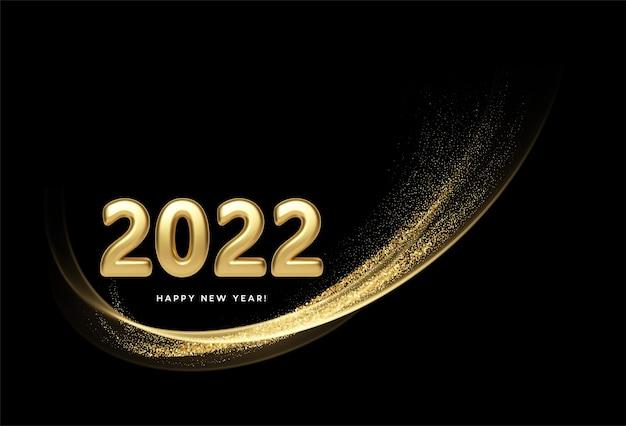 Kalenderkop 2022 met gouden golven wervelen met gouden glitters op zwarte achtergrond. gelukkig nieuwjaar 2022 gouden golven achtergrond. vector illustratie