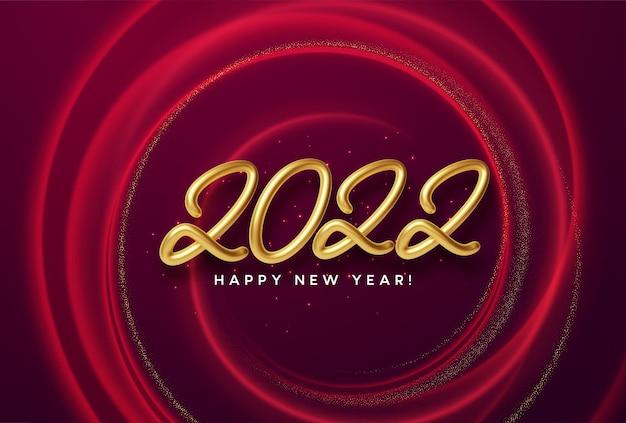 Kalenderkop 2022 realistisch metallic gouden nummer op rode golfwervelingsachtergrond met gouden schittering. gelukkig nieuw jaar 2022 rode achtergrond. vectorillustratie eps10