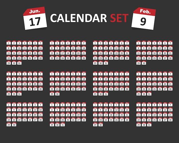 Kalendermaanden en dagen pictogramserie. vectorillustratie eps 10