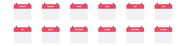 Kalenderpictogram symboolset eenvoudig ontwerp