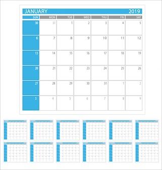 Kalenderplanner 2019 jaar eenvoudige minimale ontwerpsjabloon