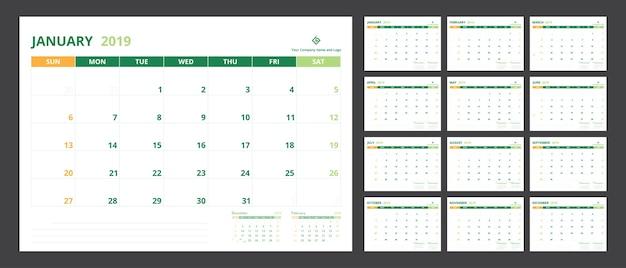 Kalenderplanner 2019 voor sjabloonontwerp begint week op zondag.