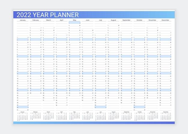 Kalenderplanner voor 2022 jaar. bureau kalender raster. jaarlijkse dagelijkse organisator sjabloon. illustratie