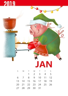 Kalenders illustratie van grappig varken voor januari 2019