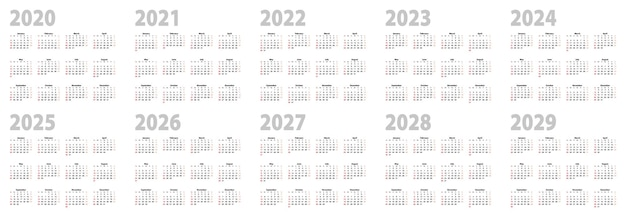 Kalenderset in basisontwerp voor 2020, 2021, 2022, 2023, 2024, 2025, 2026, 2027, 2028, 2029 jaar. vectorkalendercollectie voor tien jaar in het engels, week begint op zondag.