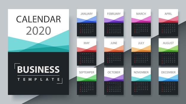 Kalendersjabloon 2020-jaar. zakelijke sjabloon