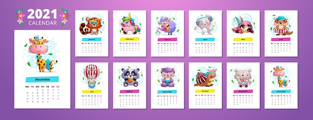 Kalendersjabloon 2021 met schattige dierenkarakters