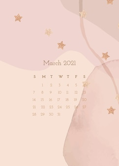 Kalendersjabloon maart 2021 met aquarelpapiertextuur