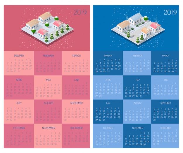 Kalendersjabloon met huizen