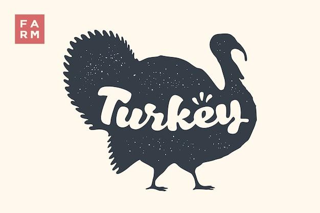Kalkoen. belettering, typografie. dierlijke silhouet turkije en belettering turkije.