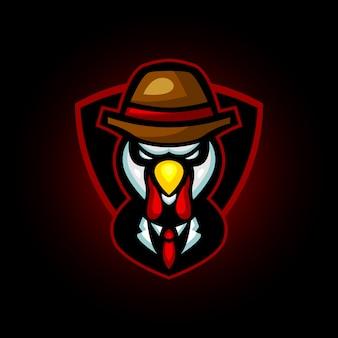 Kalkoen kip maffia e sport logo ontwerp