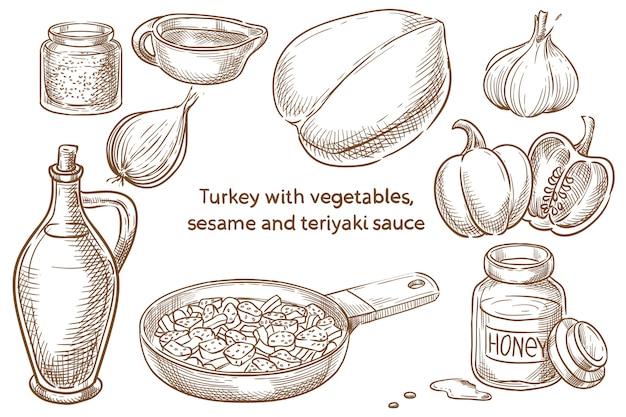 Kalkoen met groenten, sesamzaadjes en teriyaki saus. japans eten. ingredients. vector schets