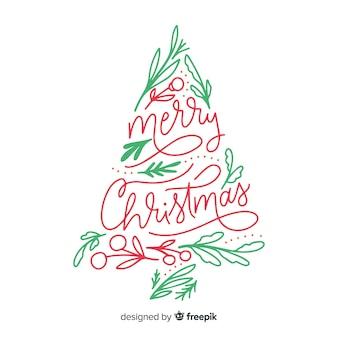 Kalligrafie belettering kerstboom