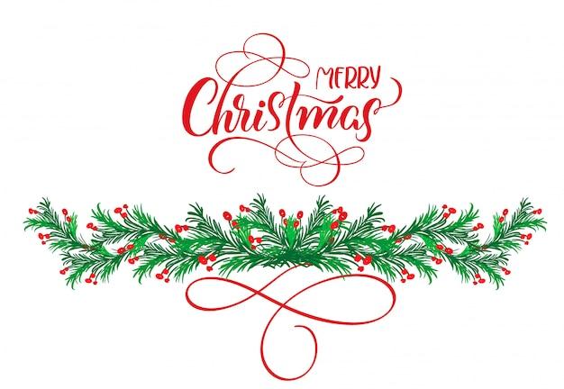 Kalligrafie tekst merry christmas met bloeien en kerstboom